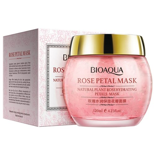 BioAqua Ночная смягчающая маска Rose Petal с лепестками роз, 120 мл