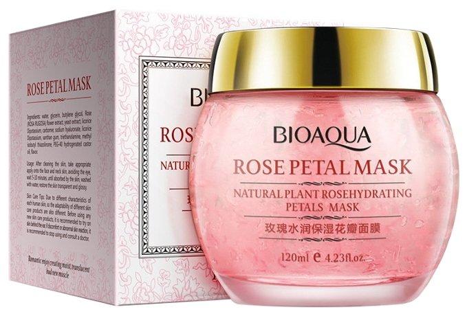 BioAqua Ночная смягчающая маска с лепестками роз Rose Petal, 120 мл