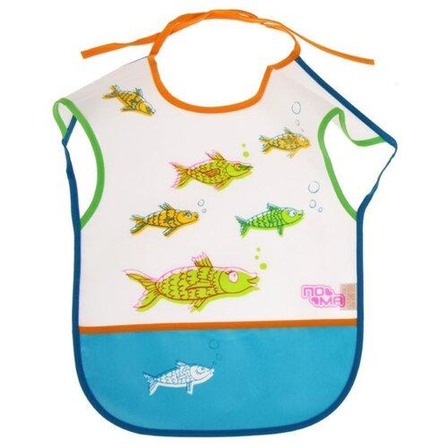 Пома Слюнявчик клеенчатый на завязках и с карманом, 1 шт , расцветка: голубой рыбыНагрудники и слюнявчики<br>