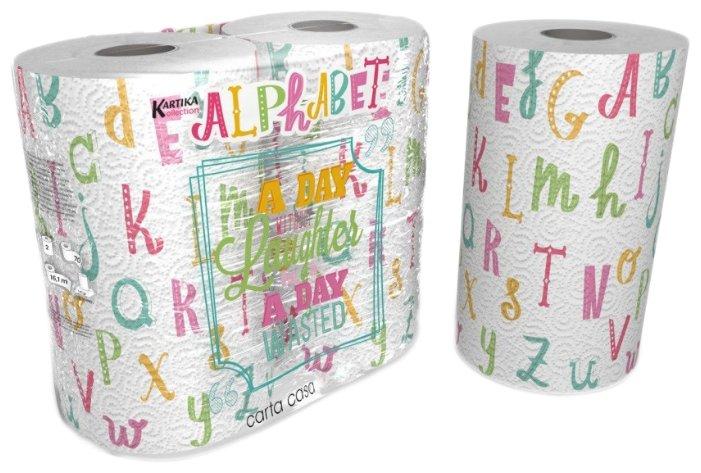 Полотенца бумажные World Cart Kartika collection Alphabet белые с рисунком двухслойные