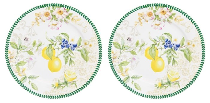 Elan gallery Набор десертных тарелок Лимоны 19 см, 2 шт
