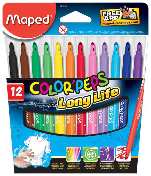 Maped Набор фломастеров Color'Peps Long Life 845020 (12 шт.)