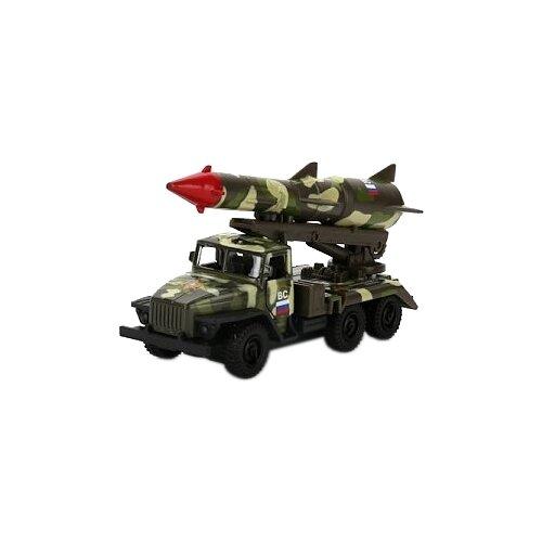 Фото - Набор техники ТЕХНОПАРК Урал 5557 Вооруженные силы с ракетой (SB-16-49-A-WB) 12 см зеленый камуфляж технопарк машинка технопарк урал 5557 полиция 12 см