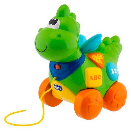 Купить Каталка-игрушка Chicco Говорящий дракон (69033) со звуковыми эффектами зеленый/оранжевый, Каталки и качалки