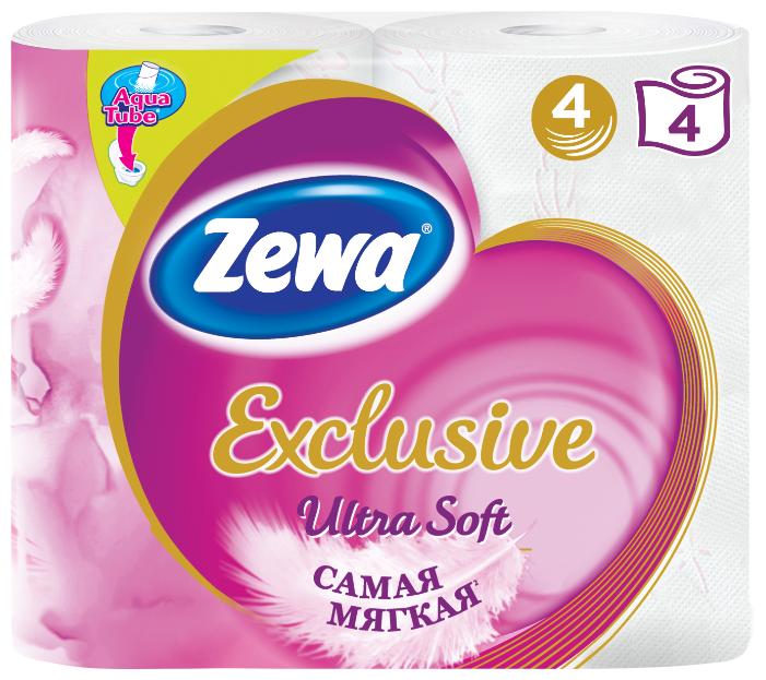 Туалетная бумага Zewa Exclusive Ultra Soft четырёхслойная, 4 рул.