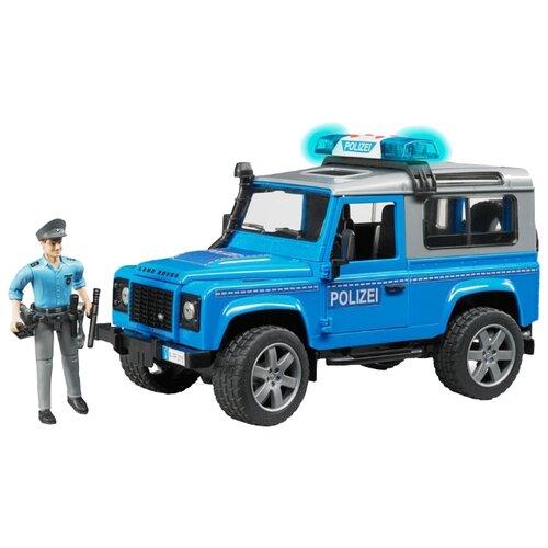Фото - Внедорожник Bruder Land Rover Defender Station Wagon (02-597) с фигуркой 1:16 голубой внедорожник bruder jeep cross counrty racer 02 541 29 см голубой