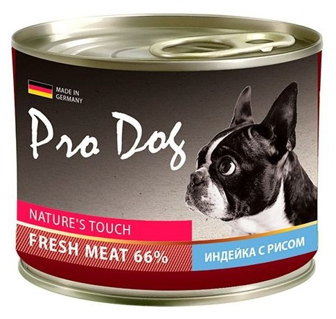 Корм для собак Pro Dog Для собак индейка с рисом консервы (0.2 кг) 1 шт.
