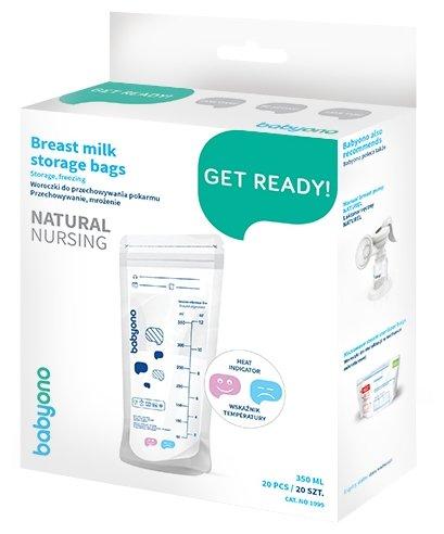 BabyOno Пакеты для хранения грудного молока с индикатором 350 мл