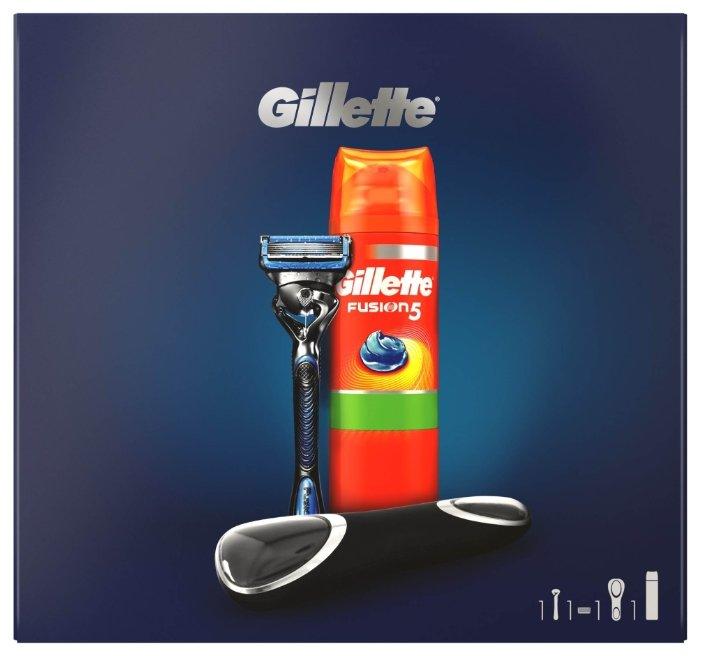 Набор Gillette подарочный: дорожный чехол, гель для бритья Fusion Ultra Sensitive 200 мл, бритвенный станок Fusion5 ProShield Chill Flexball