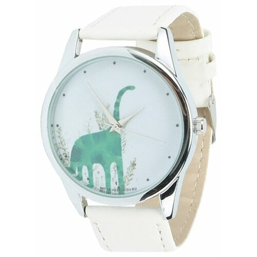 цена Наручные часы Mitya Veselkov Зеленый динозавр (White-69) онлайн в 2017 году