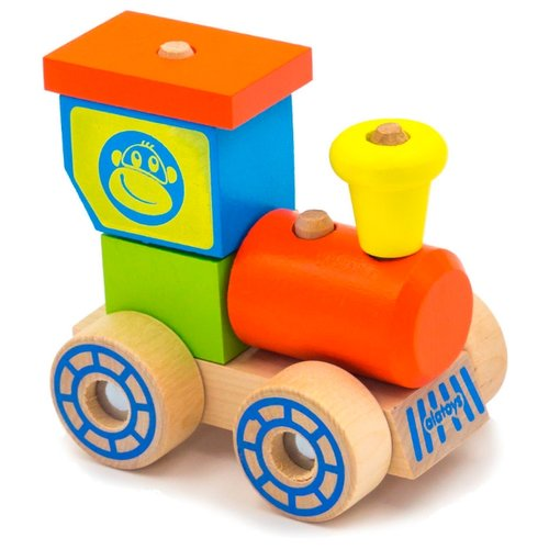Купить Каталка-игрушка Alatoys Паровозик 2 (ККП03) красный/голубой/зеленый/желтый, Каталки и качалки