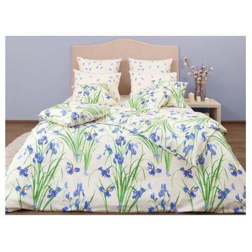 Постельное белье 2-спальное Хлопковый Край Цветочные сны Ирисы 50 x 70 бязь бежевый