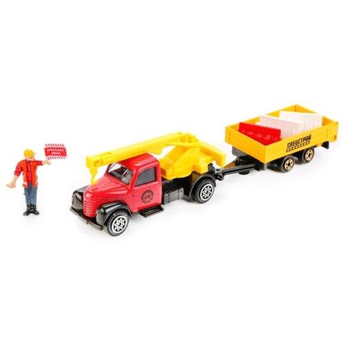 Купить Автокран ТЕХНОПАРК Стройка с прицепом и фигуркой (66009-R) 16 см желтый/красный, Машинки и техника