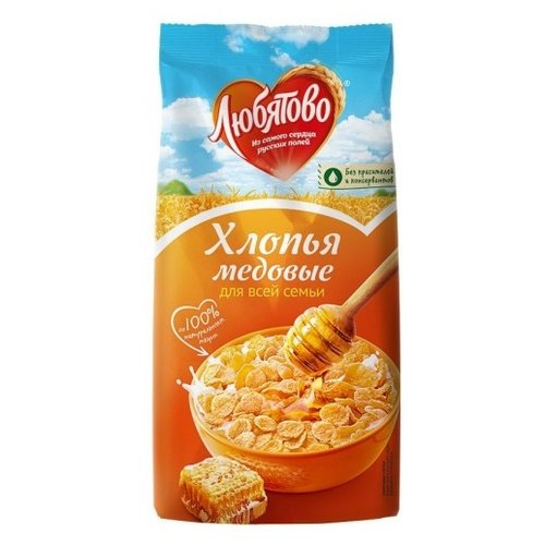 Готовый завтрак Любятово Хлопья кукурузные медовые, пакет, 250 г