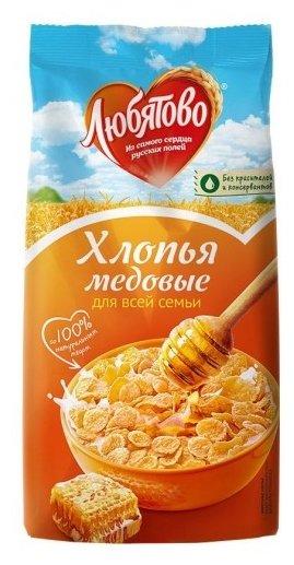 Готовый завтрак Любятово Хлопья кукурузные медовые, пакет
