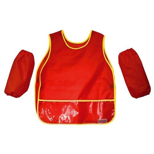 Купить Каляка-Маляка Фартук-накидка с нарукавниками (ФБКМ) красный, Одежда для уроков труда
