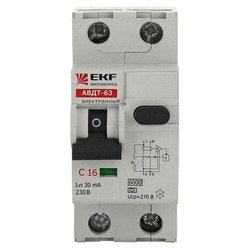 Дифференциальный автомат EKF АВДТ-63 2П 30 мА C 16 АДифференциальные автоматы<br>