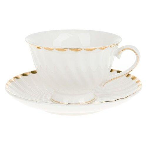 набор чайный best home porcelain indigo 200 мл 4 предмета Чайная пара Best Home Porcelain Золотая волна подарочная упаковка, 200 мл