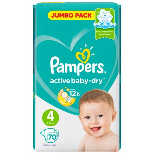 Pampers подгузники Active Baby-Dry 4 (9-14 кг) 70 шт. подгузники pampers active baby dry 5 11 16 кг 60 шт