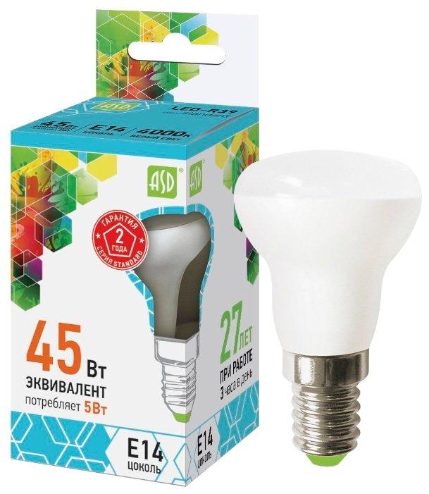 Упаковка светодиодных ламп 10 шт ASD LED-R39-standard E14, R39, 5Вт, 4000К