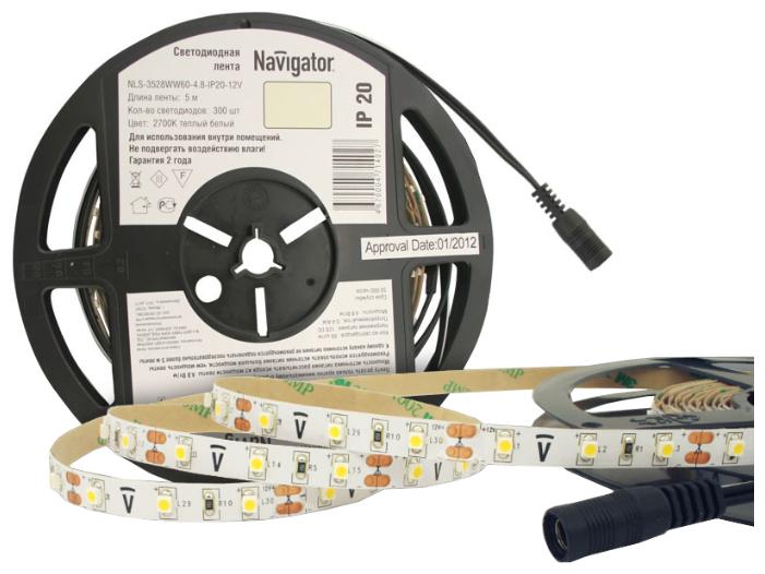 Светодиодная лента Navigator NLS-3528WW60-4.8-IP20-12V R5 5 м