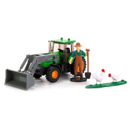 Купить Трактор ТЕХНОПАРК с фигуркой (U1407B-1) 1:64 13 см зеленый, Машинки и техника