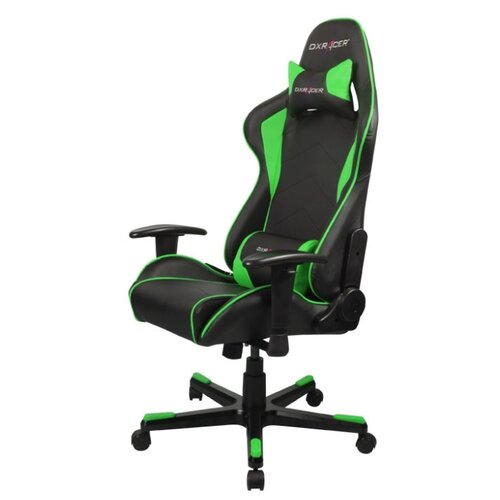 Компьютерное кресло DXRacer Formula OH/FE08 игровое, обивка: искусственная кожа, цвет: черный/зеленый игровое компьютерное кресло oh dj188 n