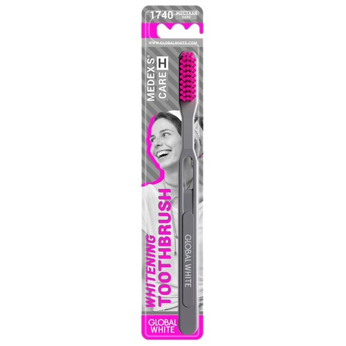 Зубная щетка Global White Hard, серый / розовый