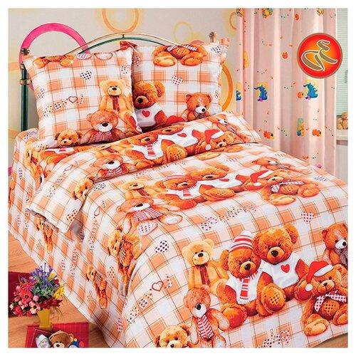 Постельное белье 1.5-спальное Традиция Дай поспать 3825 Мишутки бязь, 70 х 70 см бежевый/коричневый