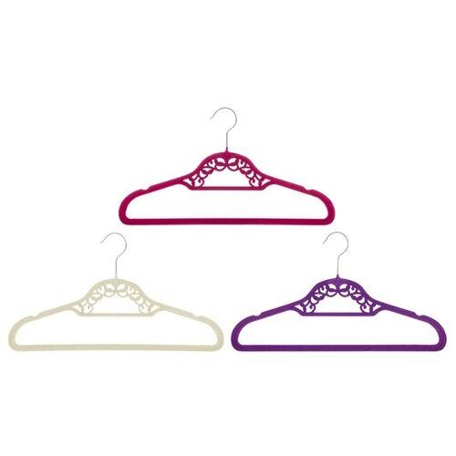 Вешалка EL CASA Набор с перекладиной Кружево 3шт бордовый/бежевый/фиолетовый el casa набор коробок для хранения обуви 30х52х11 см коричневый прозрачный