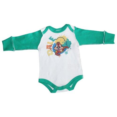 Боди Linas Baby размер 56 (0-1), белый/зеленыйБоди<br>