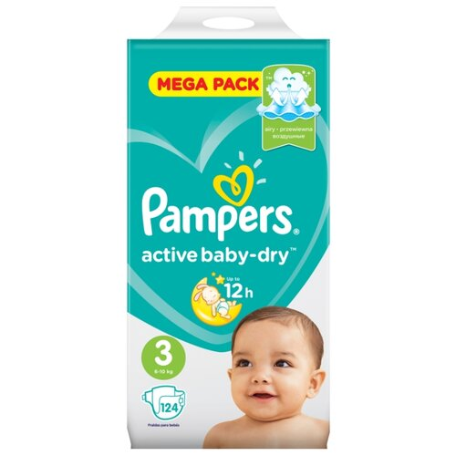 Pampers подгузники Active Baby-Dry 3 (6-10 кг) 124 шт. подгузники pampers active baby dry 4 8 14 кг 147 шт