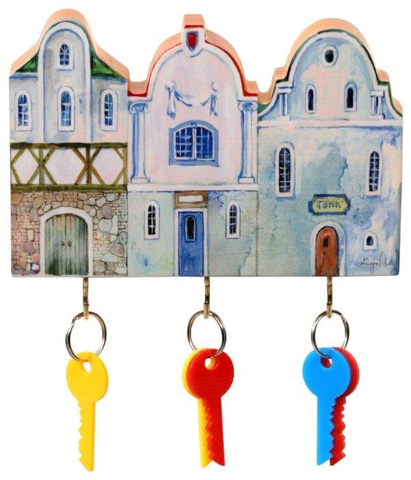 Ключница elf Маленькие голубые домики, 19x12.5 см разноцветный