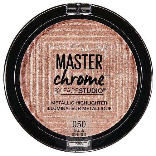 Maybelline New York By Face Studio Хайлайтер Master Chrome Metallic 050, molten rose gold maybelline master holographic