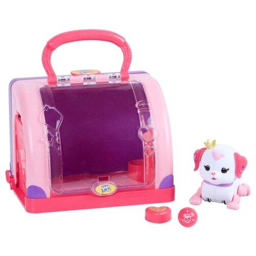 Интерактивная игрушка робот Moose Little Live Pets Щенок принцесса с мячиком и переноской розовый/белый/фиолетовый