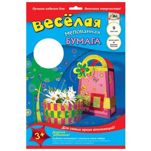 Купить Цветная бумага веселая двусторонняя мелованная Сумочка и цветы Апплика, A4, 9 л., 9 цв., Цветная бумага и картон