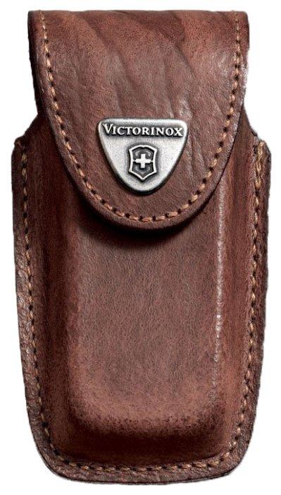 Чехол для складных ножей Victorinox 4.0535, рукоять 91 мм 5-8 уровней, натуральная кожа, цвет коричневый, крепление на пояс, Victorinox (Викторинокс)