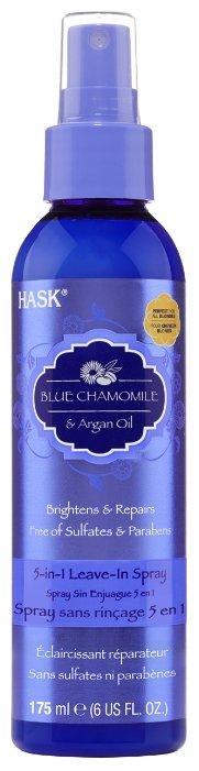 Hask Blue Chamomile & Argan Oil Несмываемый спрей для волос 5 в 1 с экстрактом голубой ромашки и аргановым маслом