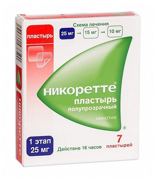 Никоретте трансдерм. терапевт. система 25мг/16ч полупрозрачн. пластырь в саше №7