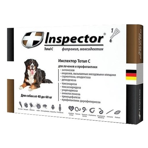 Inspector Total C Капли от блох, клещей и гельминтов для собак от 40 до 60 кг капли для кошек inspector от 4 8кг капли от внеш и внутр паразитов 1 пипетка