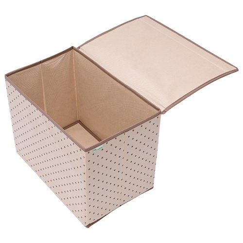 HOMSU Коробка для хранения вещей с крышкой (38х25х30 см) бежевыйОрганайзеры и кофры<br>