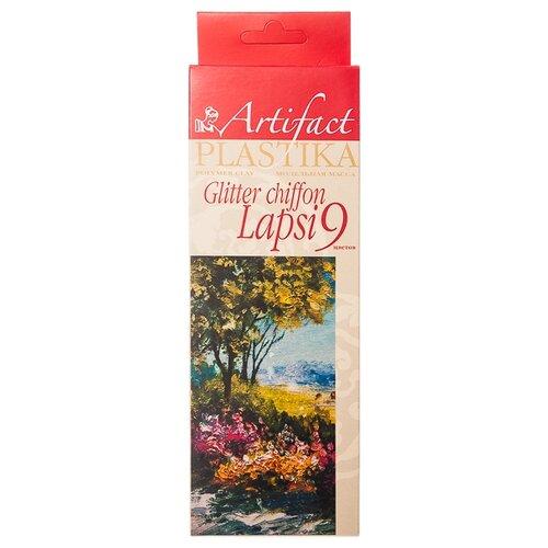 Полимерная глина Artifact LAPSI GLITTER Chiffon 9 цветов с эффектом Шифон и блестками (7109-49), 180 г