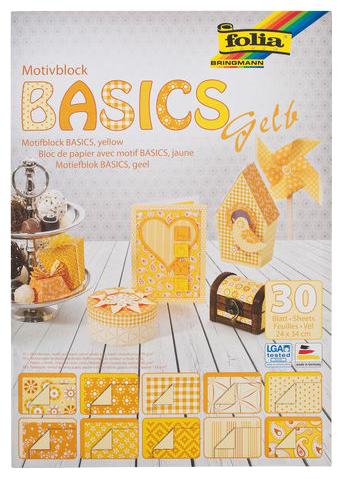 Бумага для скрапбукинга, Бумага для скрапбукинга Желтая 24х34 см 30 мотивов Basics Folia, Folia