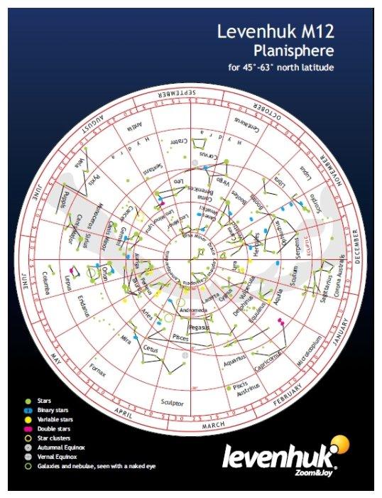 LEVENHUK Карта звездного неба M12 подвижная, малая
