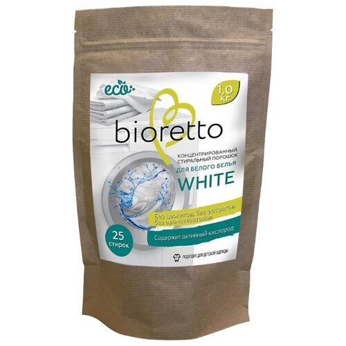 Стиральный порошок Bioretto концентрированный для белого белья WHITE 1 кг бумажный пакетСтиральный порошок<br>