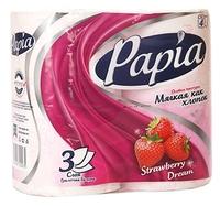 Туалетная бумага Papia Strawberry dream белая трёхслойная 4 шт.