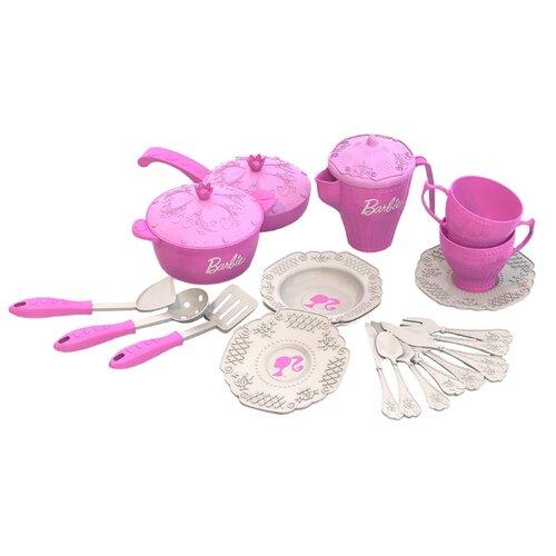 Купить Набор посуды Нордпласт Барби 639 розовый, Игрушечная еда и посуда