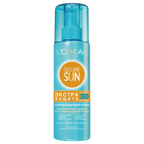 L'Oreal Paris Sublime Sun солнцезащитный спрей Экстра Защита SPF 30