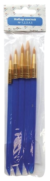 Набор кистей ArtSpace синтетика, круглая с острой вершинкой, длинная ручка, 5 шт., упаковка