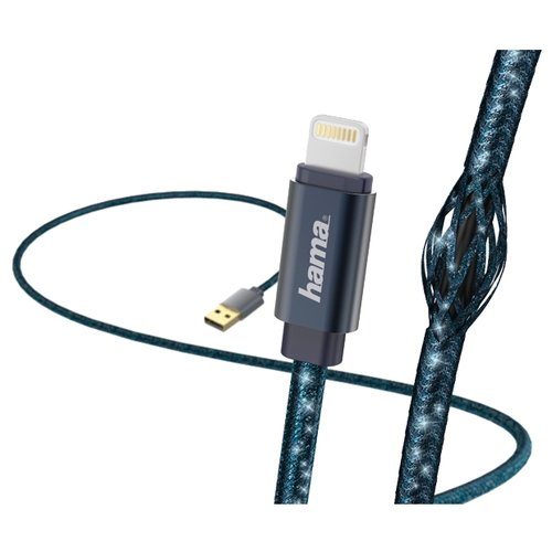 Купить Кабель HAMA USB - Apple Lightning Glitter (00183205) 1.5 м синий